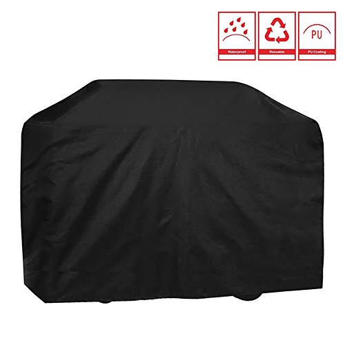 LITTLEGRASS 57inch BBQ Grill Cover Outdoor Patio Garden Gas Barbecue Smoker Cover Waterproof UV Resistant with Elastic Strap and Storage Bag for Weber Genesis,Charbroil,Kenmore,Charmglow, Brinkmann, J For Sale