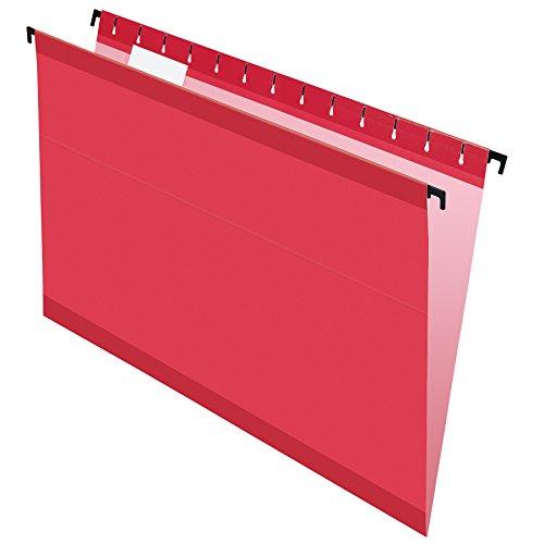 Pendaflex SureHook Reinforced Hanging Folders, Legal Size, Red, 1/5 Cut, 20/BX (6153 1/5 RED)
