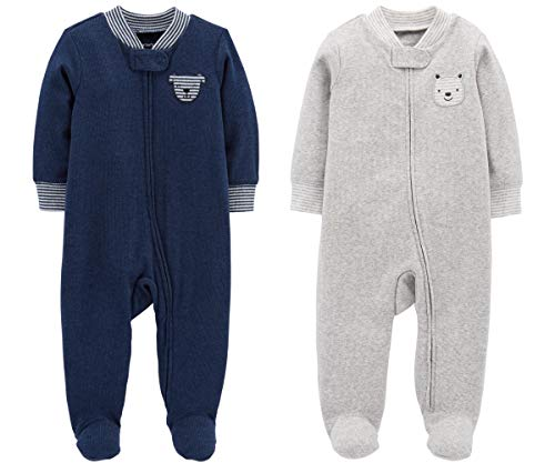 Carter's Set of 2 Baby Boys Cotton Footed Sleeper Sleep Play Pajamas (6 Months, Navy Dog and Grey Bear)