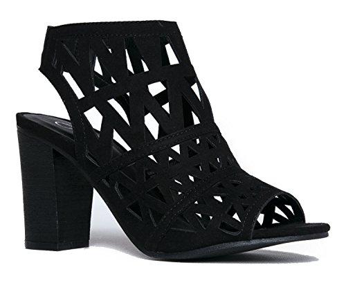 Riviera Elastic Cutout Toe High Shoe Cut On Slip Laser Back Heel Wood Adams Suede Peep Black Bootie J qpvYn8Zp