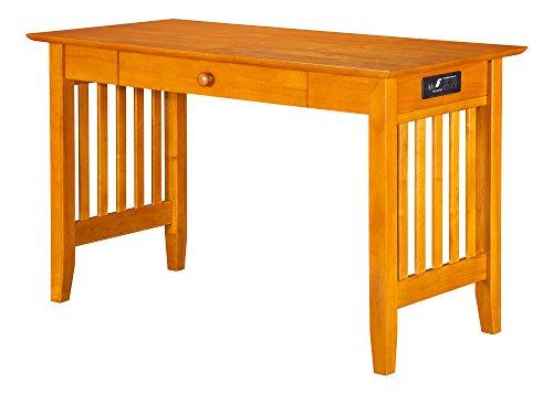 Atlantic Furniture Mission Desk with Drawer and Charging Station, Caramel Latte ()