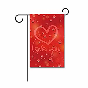 Hamory Love You Heart Red Garden Flag 12.5x18 inch