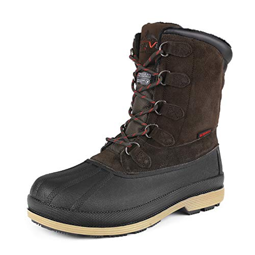 NORTIV 8 Men's 170390-M Dk.Brown Black Insulated Waterproof Work Snow Boots Size 10 M US