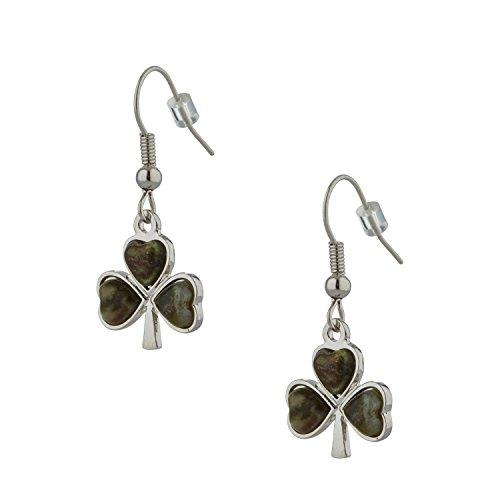 Shamrock Earrings For Women With Connemara Marble