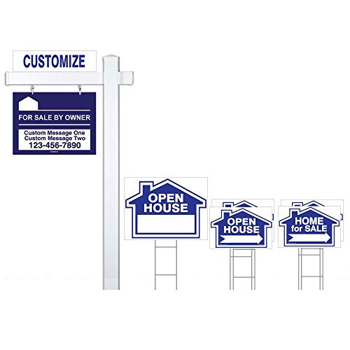 (Blue Deluxe 7-Pack For Sale By Owner Sign Bundle with Real Estate Post & H-Stakes - Open House & Home For Sale With Directional Arrows - Personalized Rider Sign for)
