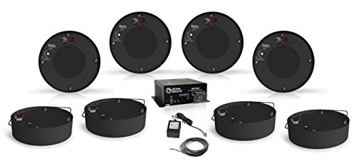 Atlas Sound M1000R 8 Inch Round Sound Masking Speaker Bundle with Atlas Sound AM1200 Low Profile Masking System and Installation Wire - Sound Masking System (10 Items) (Black)