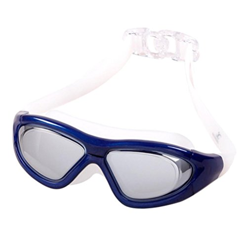 Price comparison product image Swimming Goggles,  Boofab Flat Light Big Box Swimming Goggles Anti Fog UV Protection No Leaking for Adult Men Women Kids Swim Goggles with Ear Plugs (E)