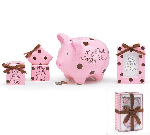 4 Piece Baby Girl Gift Set With Piggy Bank,First Curl, First Tooth,Photo Frame.Great Keepsake Gift (Bank Girl Baby Piggy)