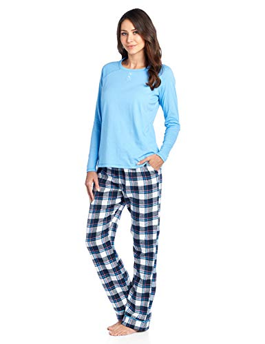 (Ashford & Brooks Womens Cotton Long-Sleeve Top and Flannel Bottom Pajama Set - Navy/Pink -)