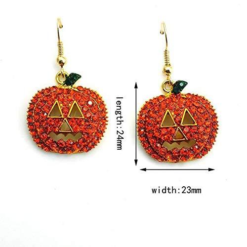 Womens Pumpkin Rhinestone Halloween Decoration Dangle Earrings Charm Jewelry