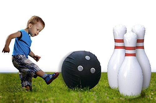Kleeger Giant Bowling Game Set: Inflatable Bowling Ball and Pins - Outdoor & Indoor Fun For Children And Adults - Includes Air Pump]()