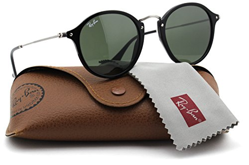 Ray-Ban RB2447 901 Round Fleck Sunglasses Black Frame / Green Lens - Round Ban Sunglasses Fleck Ray