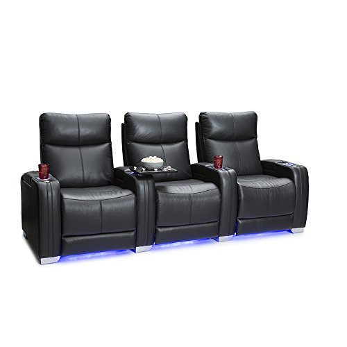 Seatcraft Solstice Leather Home Theater Seating with Power Lumbar, Recline, and Headrest (Row of 3, Black)