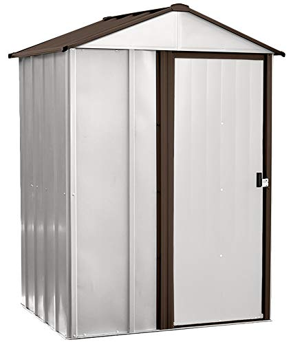 Arrow 5' x 4' Newburgh Eggshell with Coffee Trim Low Gable Electro-Galvanized Steel Storage Shed