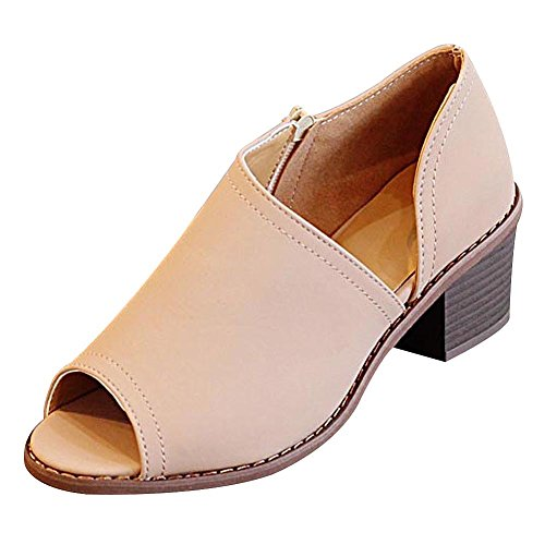 Side Zip Pumps - Jamron Women 4cm Chunky Block Heel Pumps Daily Casual Peep Toe Shoes with Side Zip Khaki SN5A80706365 US6.5