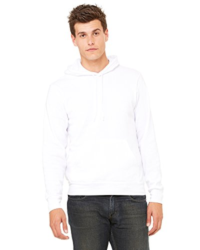 Bella + Canvas Mens Poly-Cotton Fleece Pullover Hoodie (3719) -WHITE -XS