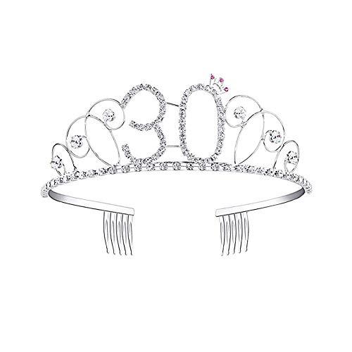 Longlasting Diadema Tiara de cumpleaños, 18/20/30/40/50 Corona de Cristal de cumpleaños con Peine de Cabello Regalo de...