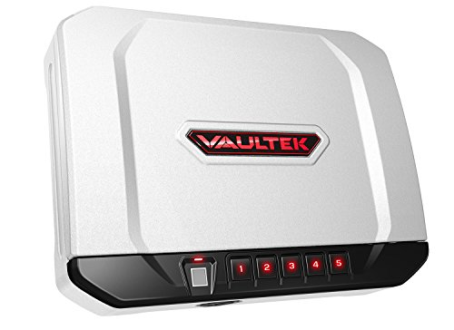 Vaultek VT20i Biometric Handgun Safe Bluetooth Smart Pistol Safe with Auto-Open Lid and Rechargeable Battery (White)