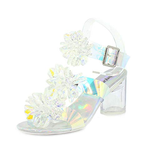 Jeffrey Campbell Womens Viola-MH Clear Iridescent Combo Sandal - 7.5