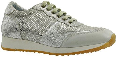 JJ Footwear Damen Schuh Leder Bermuda Normal Offweiss/silber/Weis Street/Brillo/Met.Vip/Punk 44