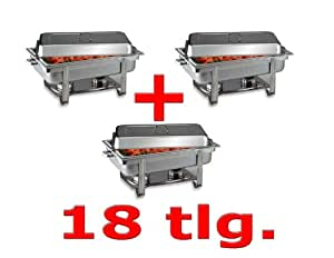 Set 3 x Chafing Dish 9L. Acero inoxidable Incluye 3 x GN 1/1 – Calientaplatos calentador