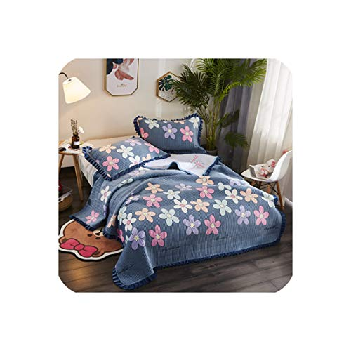 (3Pieces Bedspread Winter Quilted Bedspread Ruffles Pillowcase Fleece Fabric Quilted Bedskirt Flamingo Bed Cover,11,200X230Cm)