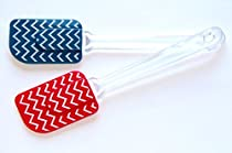 Set of 2 - 10 inch - Silicone Spatulas - Blue & Red Chevron Patterned