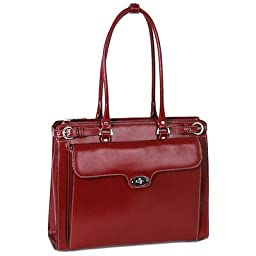 McKleinUSA WINNETKA 94836 Red Leather Ladies\' Briefcase w/ Removable Sleeve