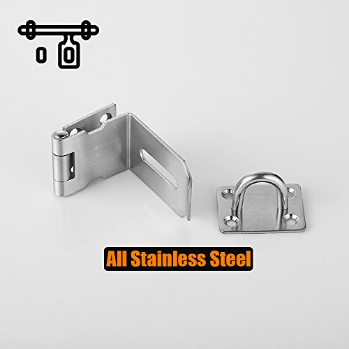 JQK Door Hasp Latch 90 Degree, Stainless Steel Safety Angle Locking Latch for Push/Sliding / Barn Door, 1.5mm Thickness Satin Nickel 2 Pack, 4 Inch by JQK (Image #3)