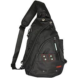 Sling Backpack, Sling Bag for Tablet, Crossbody Bag For Men, Larswon Shoulder Bag for Women, Tablet Bag, Top Quality Backpack Black