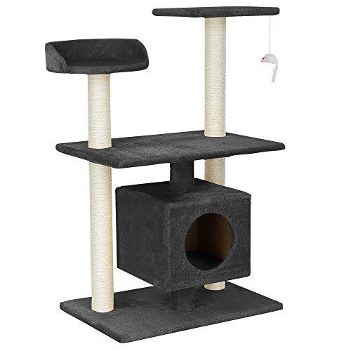 [en.casa] Katzen Kratzbaum (ca. 60 x 40 x 95 cm)(grau) Kuschelhöhlen / Aussichtsplatformen / Sisal / mit vielen Spiel - und Kuschelmöglichkeiten