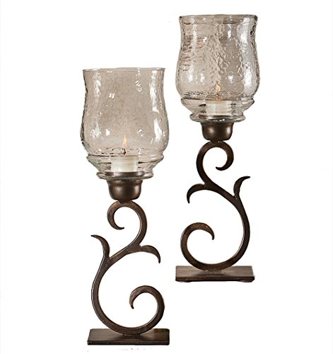 KensingtonRow Home Collection Hurricane CANDLEHOLDERS - Santa FE Hurricane Candle Holder Pair - Bronze Finish