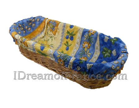 Monaco Blue French Baguette Basket with Removable Liner by Le Cluny