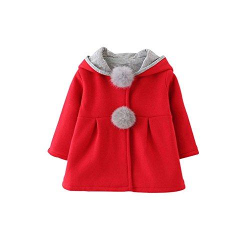 Winter Spring Baby Girls Long Sleeve Coat Jacket Rabbit Ear Hoodie Casual Outerwear Red 12M -