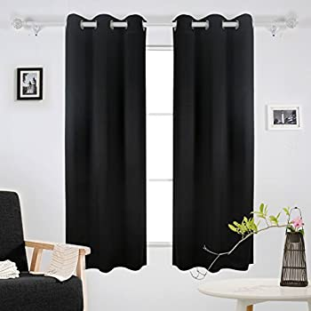 Deconovo Room Darkening Thermal Insulated Grommet Blackout Window Curtains  For Living Room Curtain Panels Pair Black 42x63 Inch