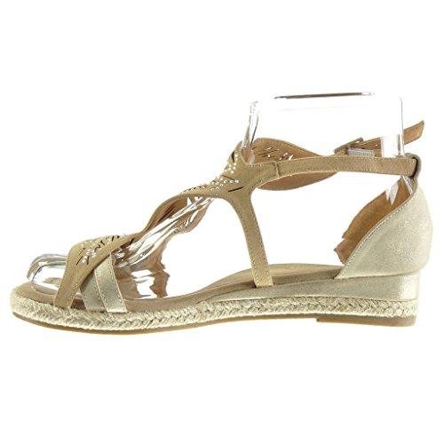 Angkorly - Chaussure Mode Sandale Espadrille ouverte femme fleurs perforée strass diamant Talon compensé 3 CM - Beige
