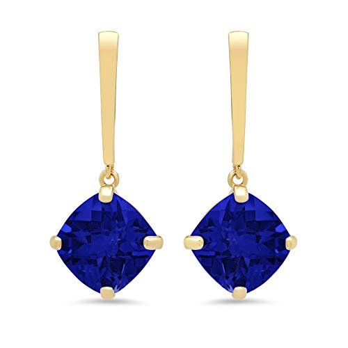 14k Yellow Gold Solitaire Cushion-Cut Created Blue Sapphire Drop Earrings (8mm)