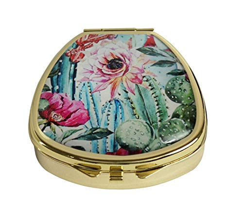 MaXing Personalized Watercolor with Flowers Roses and Cactus Custom Gold Glass Fan Shape Pill Case Stainless Steel Pill Box Decorative ()