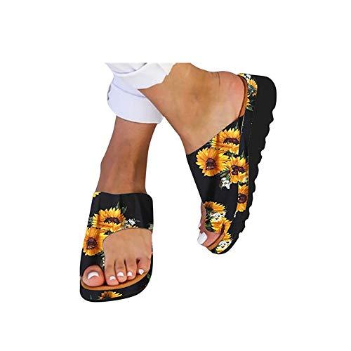 DZTZ Women Slides Slippers Sandal Toe Platform Flip Flop Shoes Summer Beach Travel Shoes Flip-Flops (39, Sunflower-A)