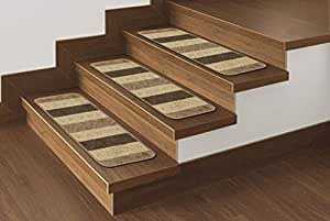 Amazon Com Ottomanson Softy Stair Treads Brown Striped