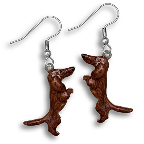 Enamel Red Dachshund Earrings by The Magic ()