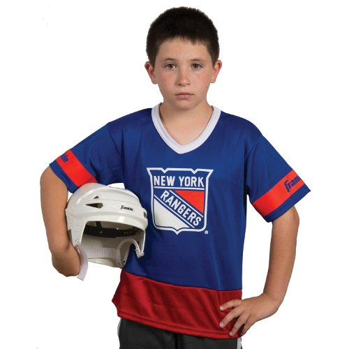 [Franklin Sports NHL New York Rangers Youth Team Uniform Set] (Male Football Player Costume)