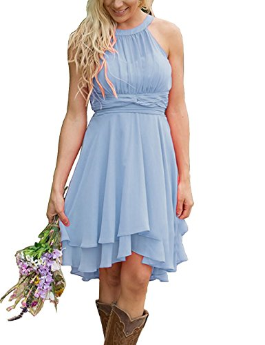 Meledy Women's Knee Length Country Bridesmaid Dresses Western Wedding Guest Dresses Short Maid of Honor Gown Sky Blue US14