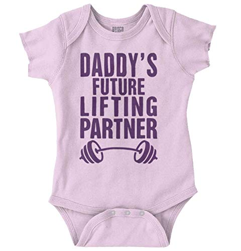 Brisco Brands Daddys Future Lifting Partner Athletic Baby Romper Bodysuit Pink ()