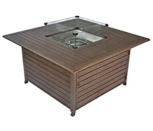 Legacy Heating 45-Inch Extruded Aluminum Square Fire Table with Glass Wind Guard, with Cover and Table Lid