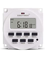 SINOTIMER 12V Weekly 7 Days Digital Programmable Timer Switch Relay Control White