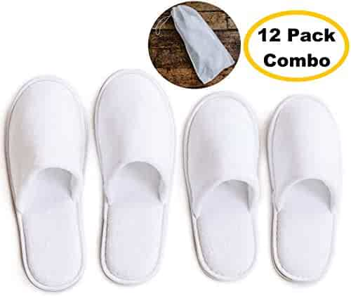 e99fb5b76 ModLux Spa Slippers - 12 Pairs of Cotton Velvet Closed Toe Slippers with Travel  Bags –