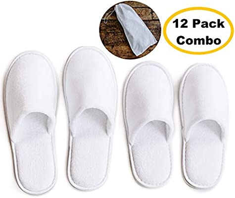 Pair Of White Size M Spa Slippers Luxury Womens Footwear