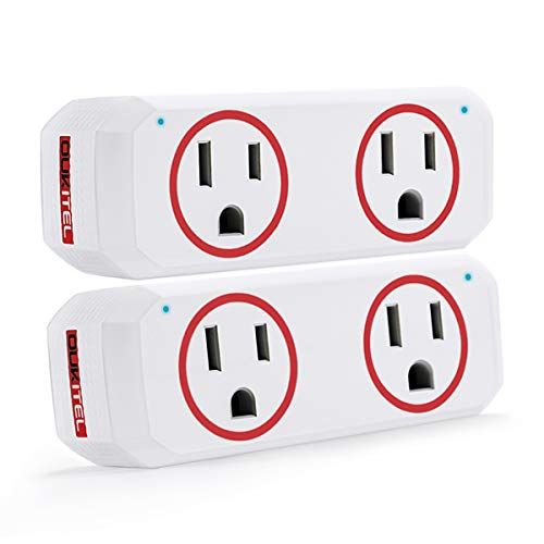 Smart Plug, OUKITEL Dual Mini Wifi Outlet Compatible with Alexa, Google Assistant & IFTTT, Voice APP Remote, No Hub Required, ETL & FCC Certified, Red – 2 Pack