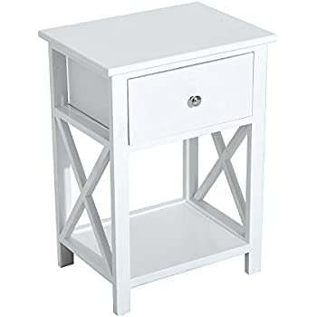 homcom xside wood end table nightstand w drawer white